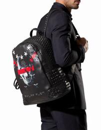 Top Quality Genuine Leather Rivet 3D Skull Backpack Designer Men AM946133 Luxury High Quaity Mens Sport