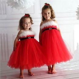 Discount decor dress - Girls Red Gauze Xmas braces skirt kids pile ruche princess slip dress Kids fluff decor suspender dress performance party