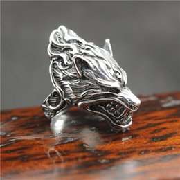 Rings Flaming NZ - Mens Boys 316L Stainless Steel PUNK Gothic Flaming Wolf Head Newest Ring Factory Price