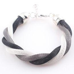 Discount wholesale fashion friendship bracelets - Wholesale-Fashion Multi Colors Metal Chain Braided Bracelet Women Friendship Mesh Bracelet Bangles Femininas Bijuterias