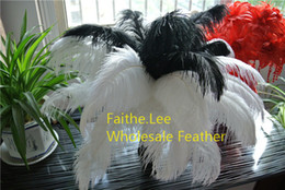 $enCountryForm.capitalKeyWord Australia - 200pcs lot 14-16inch 35-40cm black and white Ostrich Feather plumes for wedding centerpiece wedding party table centerpiece