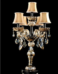 $enCountryForm.capitalKeyWord Australia - Antique big crystal table lamps French restaurant Led candelabra marrige candle holders wedding dining room table light glass candelabrum