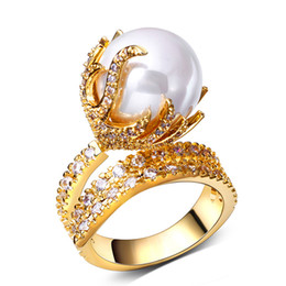pave diamond white gold 2018 - LUXURY top quality 18K gold plated pearl ring Micro Pave AAA CZ Diamond big luxury index finger rings for women cheap pa