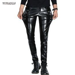 Discount faux leather bootcut pants - Wholesale- MORUANCLE Men Skinny Faux PU Leather Pants Shiny Black Trouser Nightclub Stage Performance Singers Dancer Sue