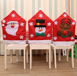 Christmas Chair Covers Santa Claus Snowman Elk Dinner Banquet Back Party Home Decor OOA3461
