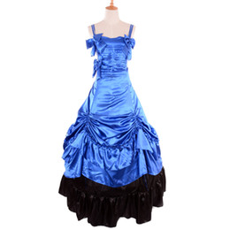 Victorian Costumes For Halloween Canada - Victorian Period Costumes for Women Southern Belle Dresses Blue Adult Cosplay Party Halloween Lolita Ball Gowns Civil War Dress