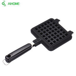 Chinese  Wholesale- Household Waffle Mold Pan DIY Cake Molds Cast Aluminum Base Stovetop Belgian Waffle Iron Baking Tools manufacturers