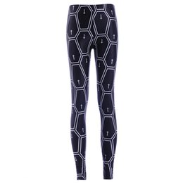 Leggings Cross-print Pas Cher-2017 Nouveau 3866 Mode Croix Plaid Géométrie Pentagone Imprime Sexy Fille Crayon Yoga Pantalon GYM Fitness Workout Haute Taille Femmes Leggings