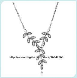6b6fdea2b3ee Cadena de plata esterlina 100% 925 collar colgante gota de hojas brillantes  con Clear Cz adapta a los encantos y cuentas de la joyería estilo Pandora