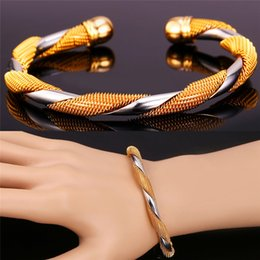 Link two online shopping - New Two Tone Bangle Bracelet K Real Gold Platinum Plated Fashion Jewelry Party Gift For Women Men MGC H1174