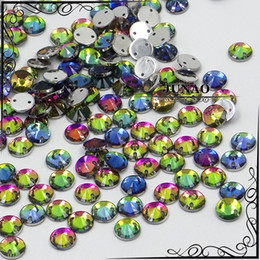Rhinestone Flatback Acrylic Wholesale Pas Cher-Vente en gros-8mm Rainbow Color Sew On Round Rivoli Flatback Acrylique Fantaisie Strass Strass Crystal Stones For Clothes Dress