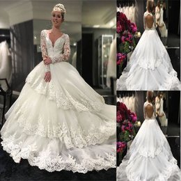 $enCountryForm.capitalKeyWord NZ - Speranza Couture 2018 Princess Wedding Dresses with Flowers in Cathedral Train Arabic Middle East Church Garden Bridal Gowns V-Neck Dress