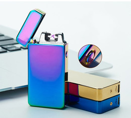 Ingrosso Accendino elettronico di nuova moda Dual Arc 10 colori antivento in metallo ultra-sottile USB ricaricabile con doppio arco elettrico accendino a fuoco