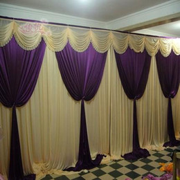 White Wedding Table Settings Canada - free shipping wedding stage backdrops decoration romantic romantic purple with white wedding curtain with swags sequins