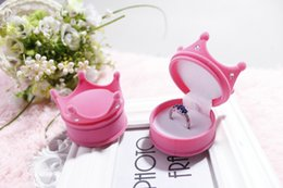 Crown Ring Box Canada - High quality Crown Shape Velvet Ring Box Earring Jewelery Case Luxury Princess Gift Boxes 100pcs