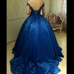 Robes De Bal Bleu Corset Pas Cher-Bleu Royal Off épaule robe de bal robes de bal Appliques perles Satin corset dos nu robes de soirée robes de Quinceanera Sweet 16 robes