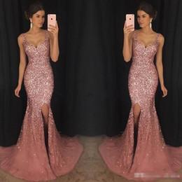 $enCountryForm.capitalKeyWord Canada - 2018 Luxury Gorgeous Sparkly V-Neck Mermaid Prom Pageant Dresses Crystal Beaded Prom Dress Major Beading Split Sweep Train Evening Dress