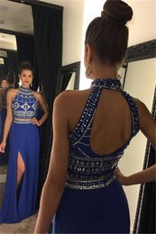 Crystal Back Beaded Evening Dresses Canada - Sparkly Bling Bling High Neck Crystal Beaded Royal Blue Two Piece Prom Dresses 2016 Sweep Train Chiffon Open Back Long Formal Evening Gown