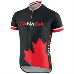 Wholesale 2019 MEN hot cycling jersey black Canada flag bike wear tops national team summer clothing outdoor sportwear riding racing