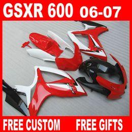 Großhandel Fit für Suzuki GSXR 600 750 Verkleidungen GSX-R600 R750 2006 2007 Rot Weiß Verkleidungssatz 06 07 GSXR600 GSXR750 frei nach Kundenwunsch hohe Qualität