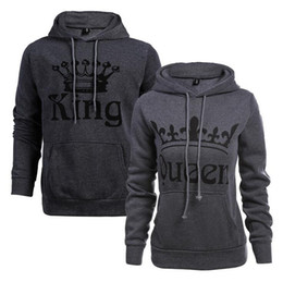 $enCountryForm.capitalKeyWord UK - 2017 New fashion couple sweater hooded KING QUEEN letters printed long-sleeved plus velvet sweatshirts