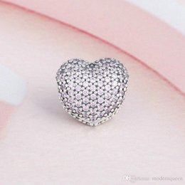 Clip Charms Free Shipping NZ - Pink Clips heart charms bracelets authentic S925 sterling silver beads fits pandora Jewelry bracelets free shipping