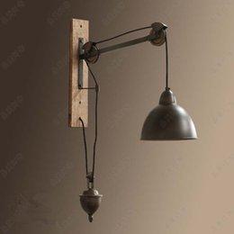 Venta al por mayor de Novedad Retro Polea Lámpara de pared dormitorio sala de estar bar luces de pared interiores iluminación industrial rústica retro aplique de pared E27 bombilla led abajur
