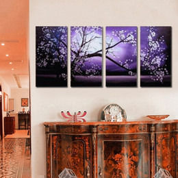 cherry blossom picture Canada - 4pcs lot Cherry Blossom Modern Abstract Hand Painted on Canvas Wall decorative canvas Art Oil painting