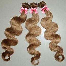 Hair Pcs Canada - Honey Blonde yellow Body Wave Color 27# Brazilian Virgin Hair Weaves 3 4 Pcs Lot Human Hair Extensions brown color hair