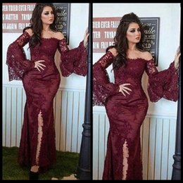 Wholesale Romantic Burgundy Prom Dresses Lace Appliques Mermaid Off the shoulder Long Sleeve Evening Gown Long Prom Gowns Evening Wear
