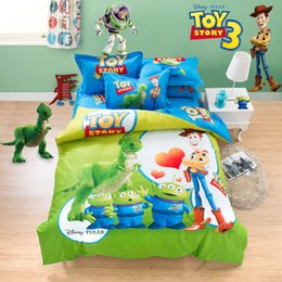 Nice Wholesale Free Shipping,100% Cotton Cartoon Bedding Set 4pcs,toy Story,red  Green,SC003 Awesome Design
