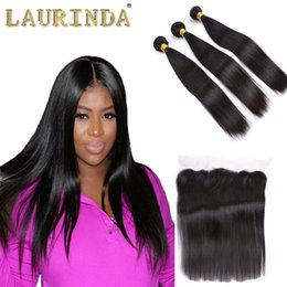 Wholesale Brazilian Virgin Hair Straight Bundles with Lace Frontal Closure Unprocessed Brazilian Human Hair Bundles with Frontal Modern Show Hair