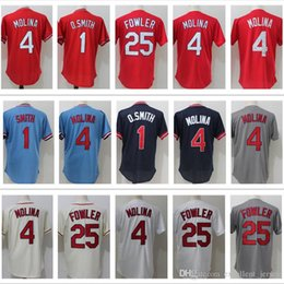 1a6674954 Man St- Louis jersey Cardinal  4 Yadier Molina  1 Ozzie Smith  25 Dexter  Fowler jerseys Embroidery Logos Free Shipping ...