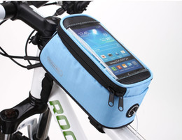 "Panniers For Bikes Canada - Free DHL ROSWHEEL 4.2""4.8""5.5"" Waterproof Outdoor Cycling Mountain Bike Bicycle Bag Frame Front Tube Bag Panniers Touchscreen Phone Case"