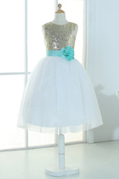 $enCountryForm.capitalKeyWord UK - Gold sequins ivory tulle flower girl dress tutu princess kids children junior bridesmaid dress with mint sash detachable for wedding
