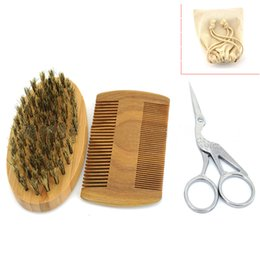 Wholesale Men s Shaving Kit Shaving Brush Combs Beard Scissors Men s Styling Set with Bag Hot Sale Free Shipment