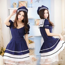 Tenue De Marin Halloween Pas Cher-Mode Sexy Lingerie uniformes scolaires Sailor Dress underwear Costume Kimono Pajamas Outfit jolie en lingerie érotique LR1062