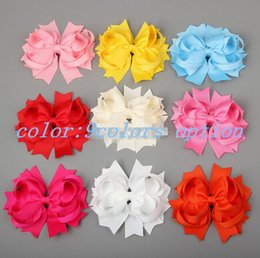 Wholesale 15 off new style inch Solid Stacked Girl Baby Toddler Spike Hair Bow Mixed Color hair accessories christmas gift