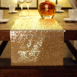 $enCountryForm.capitalKeyWord NZ - 30*275cm Fabric Table Runner Gold Silver Sequin Table Cloth Sparkly Bling for Wedding Party Decoration Products Supplies