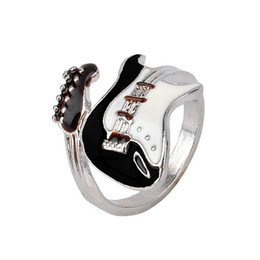China Personalized European Style Punk Style Bright Colorful Glazed Guitar Ring Lovers ring Couples rings Finger Rings Bague Fashion Jewellry Gift cheap guitar fashion suppliers