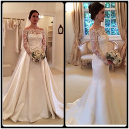 2016 Vintage Long Sleeve Wedding Dresses Unique Design Detachable Skirt Lace Ivory Satin Mermaid Bridal Gowns With Sweep Train