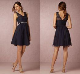 $enCountryForm.capitalKeyWord Canada - Navy Blue Bridesmaid Dresses 2019 A-Line V-Neck Knee Length Lace Maid Honor Special Occasion Dresses For Wedding Cheap
