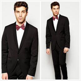 Mens Black Suit Bow Canada - 2016 Fashion Black Mens Wedding Suits Shawl Lapel Slim Fit Groom Tuxedos Custom Made Groomsmen Suits (Jacket+Pants+Bow Tie)