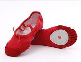 Women Canvas Dance Shoes UK - Canvas soft comfortable soft ballet dance anti-slip flat heels shoes sthletic gymnastics shoes cowhide head and bottom soft shoes 24-40yard