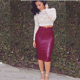 Barato Saia De Couro Macio-New Fashion Women Soft PU Leather Skirt High Waist Slim Hip Pencil Saias Vintage Bodycon Saia Midi Sexy Clubwear Quente