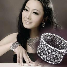 $enCountryForm.capitalKeyWord Canada - 2 rows Elastic Bracelet Exaggeration Wide Rhinestone expandable Stretch Crystal big fil Bangle rope beads jewelry retro famous designer