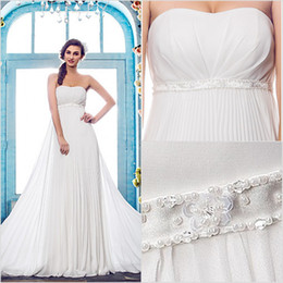$enCountryForm.capitalKeyWord Australia - 2016 New Fashion Popular Free Shipping Ivory Court Train Strapless Empire Beads Chiffon Sheath Wedding Dresses 199