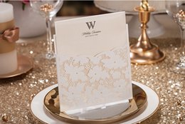 Lace invitation card designs online shopping - Wedding Invitations White Lace Hollow Wedding Card Design Foil Stamping Uneven mm g Paper