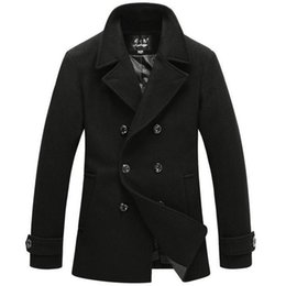 Manteau De Pois Britannique Pas Cher-Manteau de trench coat de style britannique Long Double Breasted Hommes Vestes de laine Brand Designed Outdoors Manteau de laine Peas manteau Noir
