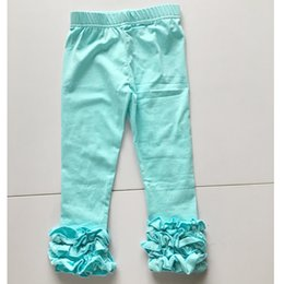 Barato Calças De Ganga-Aqua Blue Toddler Ruffle Leggings Icing Leggings Para Meninas Por atacado Triple Ruffled Leggings Girl Gift Pants